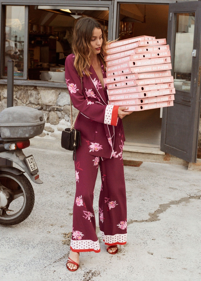 & Other Stories Belted Floral Lounge Blazer, Wide Floral Print Trousers, Short Chain Crossbody Bag and Studded Strappy Stiletto Heels