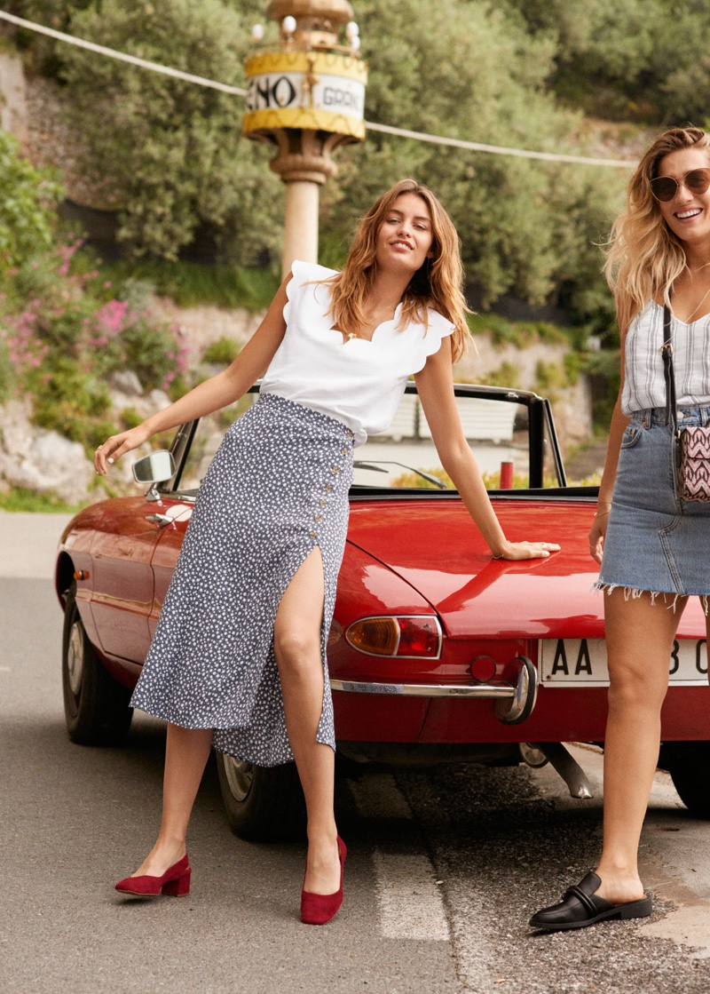 (Left) & Other Stories Scalloped Blouse, Asymmetrical Button Midi Skirt and Suede Slingback Ballet Pumps (Right) & Other Stories Striped Tank Top and Raw Edge Denim Mini Skirt