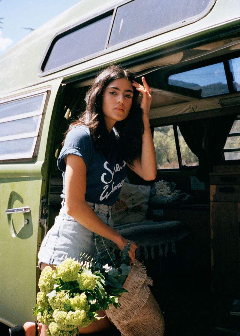 & Other Stories T-Shirt and Raw Edge Denim Shorts