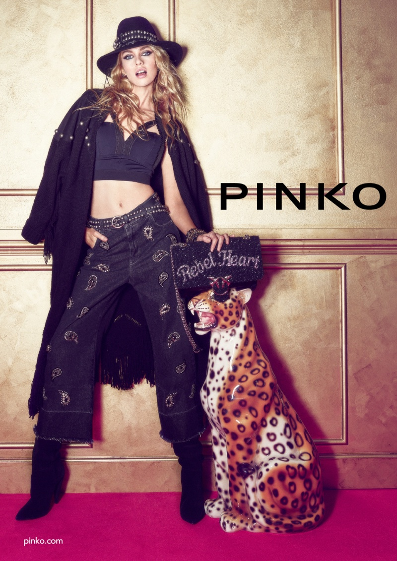 Striking a pose, Stella Maxwell fronts Pinko fall-winter 2018 campaign