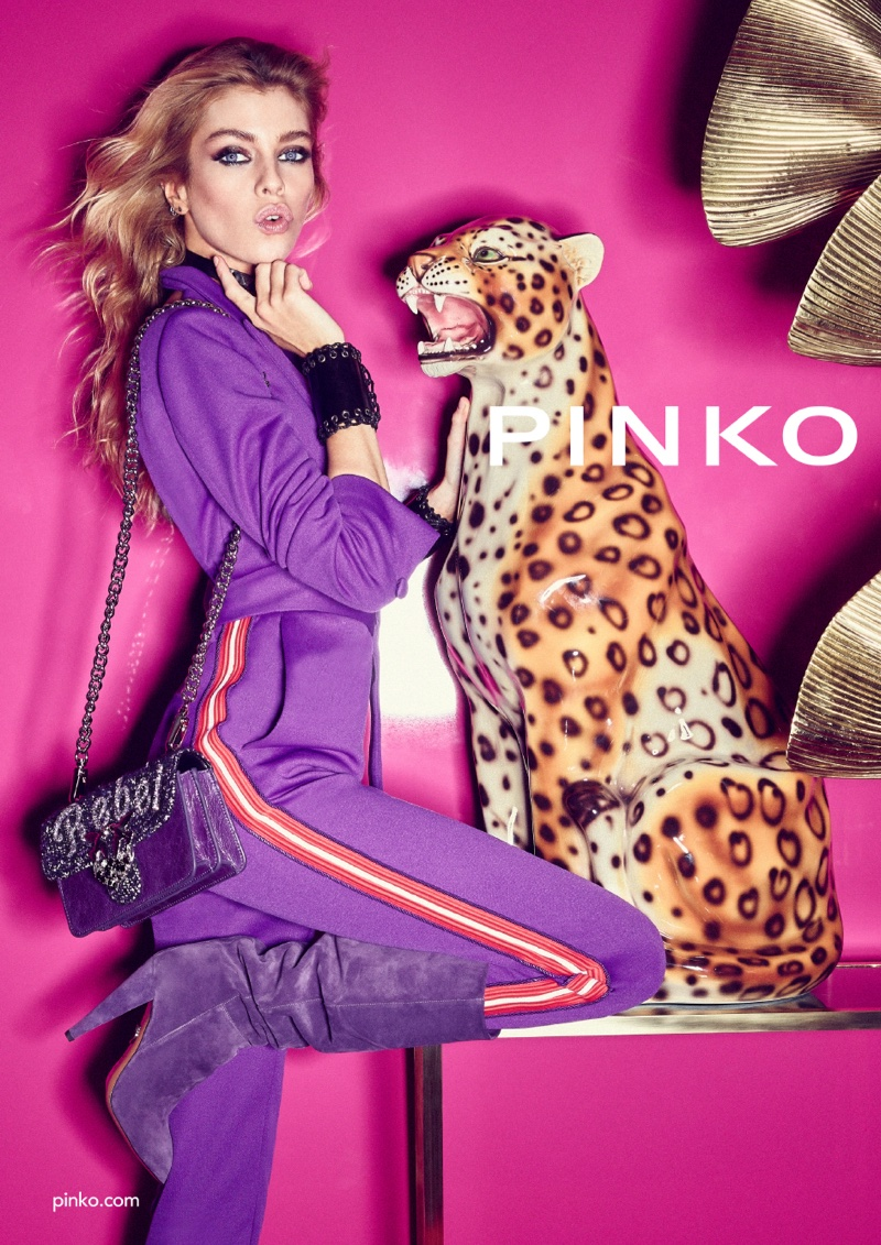 Dressed in purple, Stella Maxwell fronts Pinko fall-winter 2018 campaign