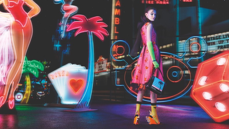 Prada sets fall-winter 2018 campaign against neon lights
