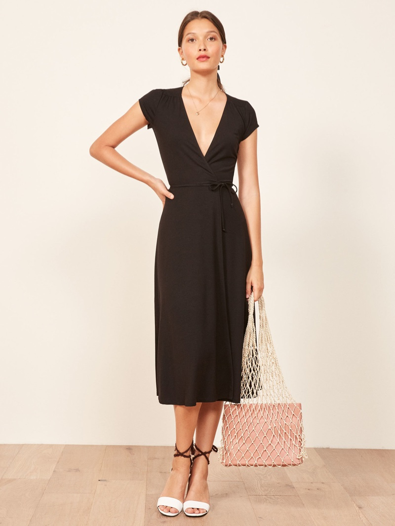 Reformation Becca Dress in Black $98