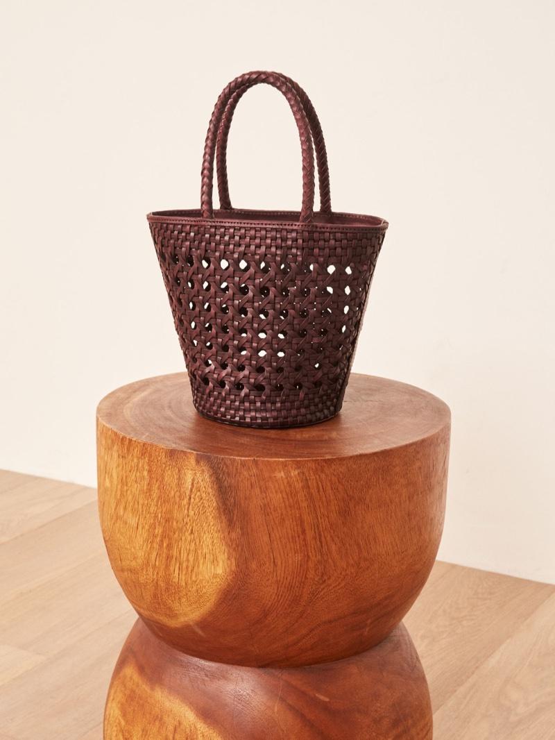Reformation Bucket Bag in Berry $198
