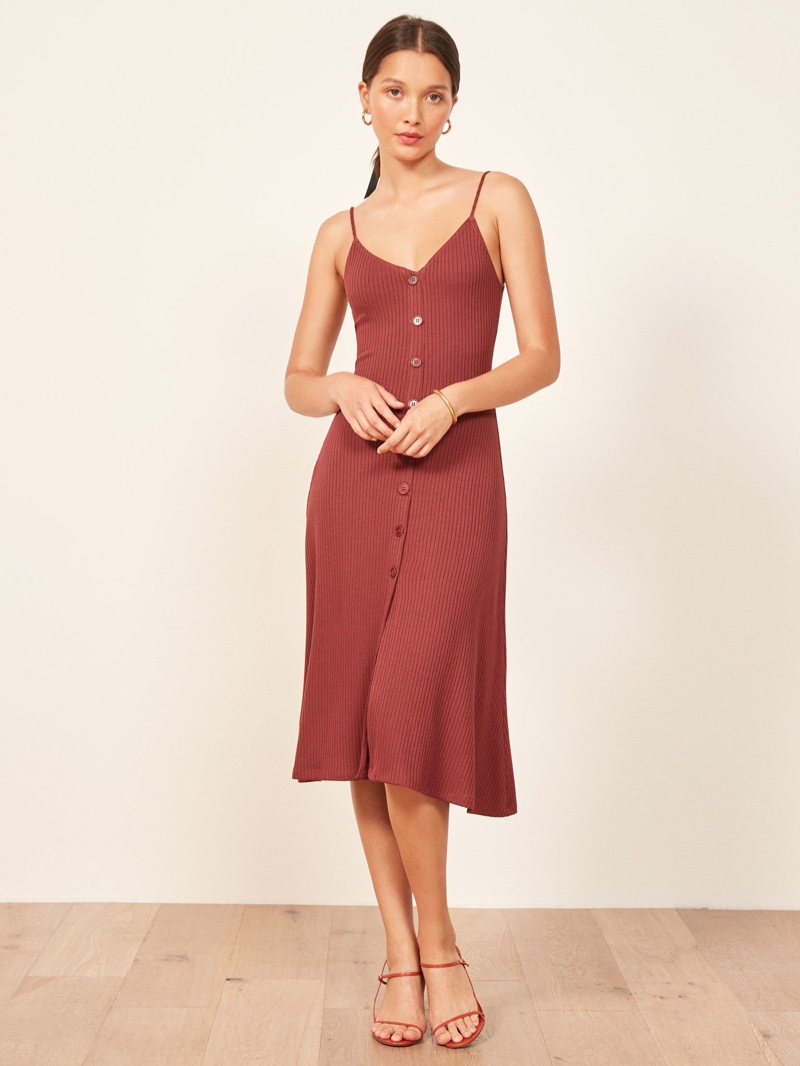 Reformation Casey Dress in Rust $118
