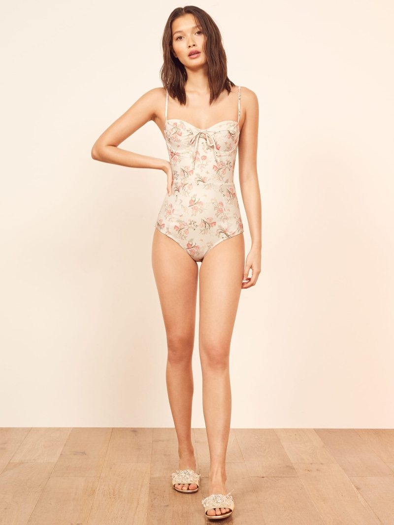Reformation Cove One Piece Swimsuit in Camilla $128