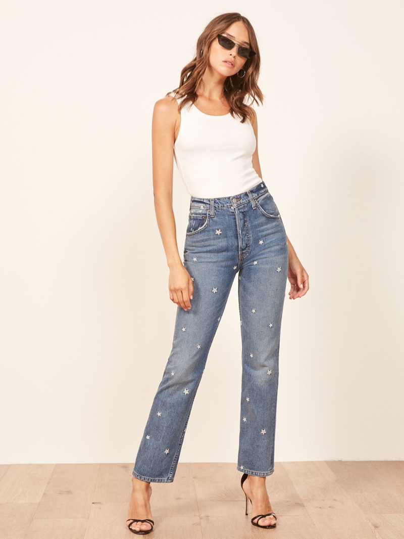 Reformation Cynthia High Relaxed Jeans in Daisy $178