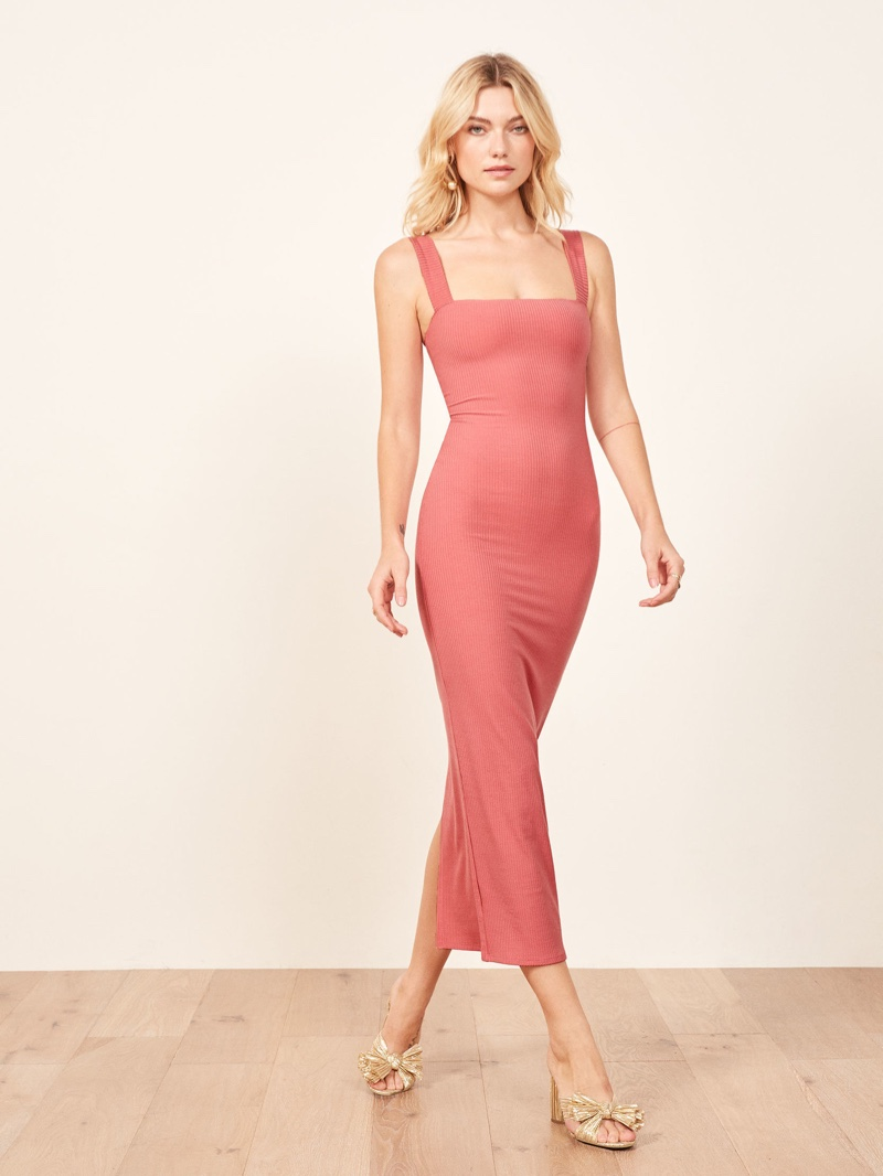 Reformation Donna Dress in Dusty Rose $98