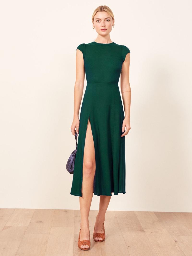 Reformation Gavin Dress in Emerald $218