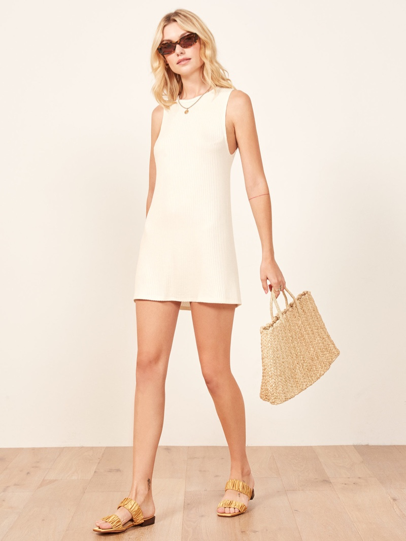 Reformation Tali Dress in Ivory $78