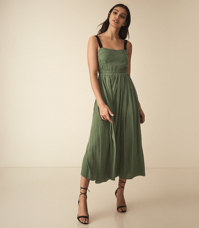 Reiss Luellla Pleated Maxi Dress in Green $250 (previously $370)