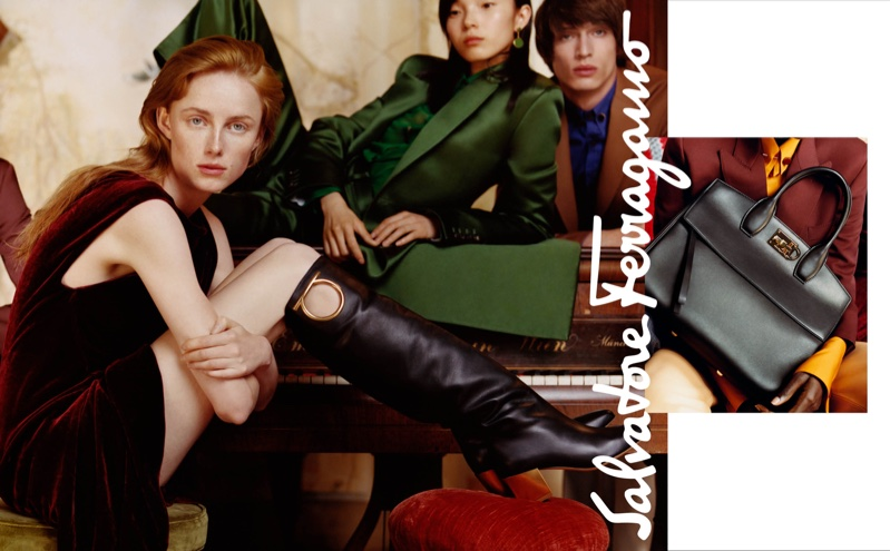 Rianne van Rompaey, Xiao Wen Ju and Edoardo Sebastianelli appear in Salvatore Ferragamo fall-winter 2018 campaign