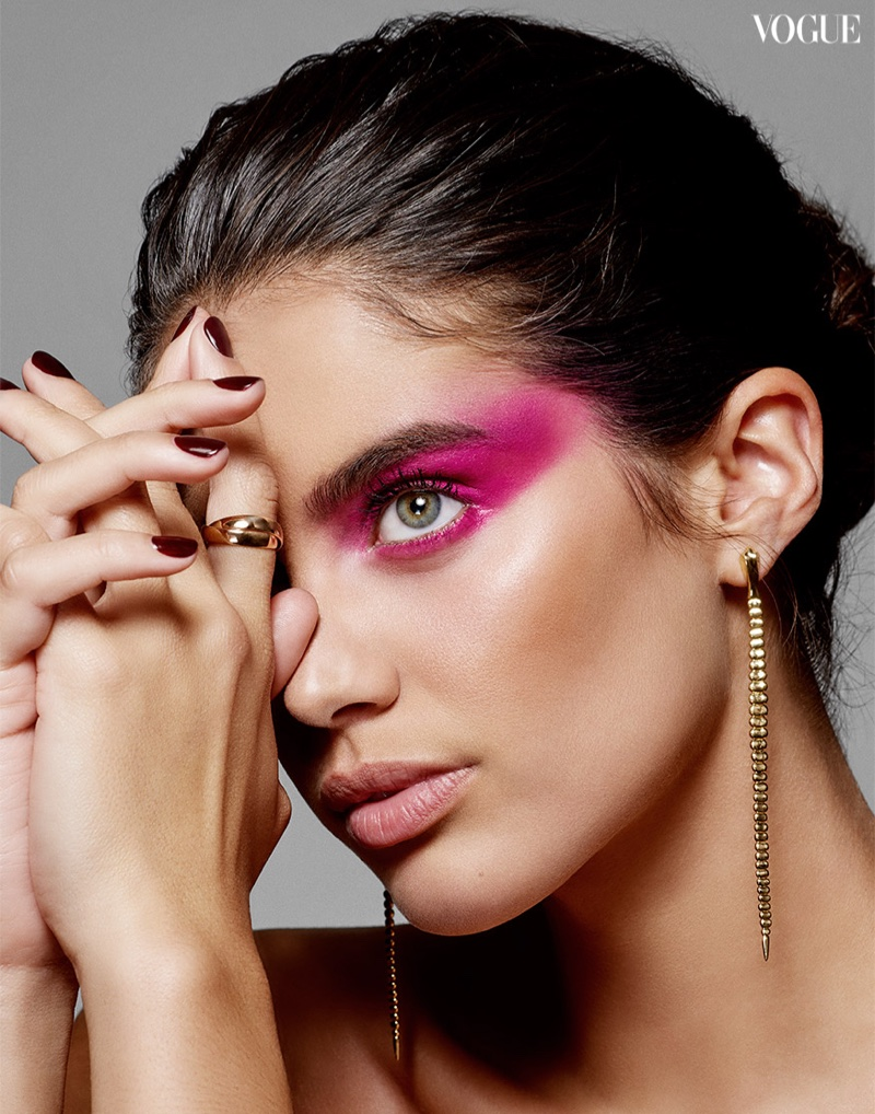 Sara Sampaio Wears Glam Beauty Looks for Vogue Thailand