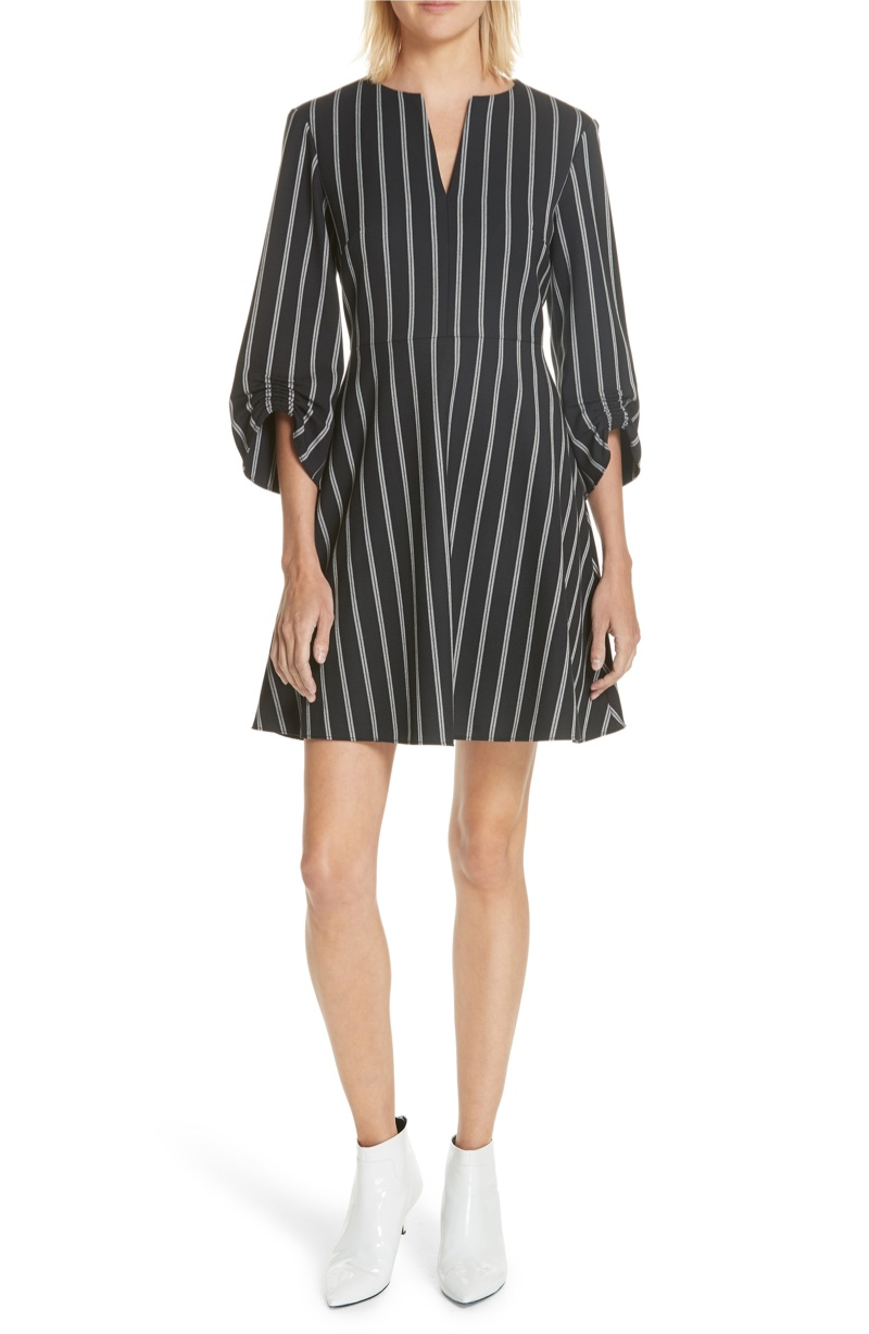 Tibi Ruched Sleeve Stripe Dress $263.90 (previously $395)