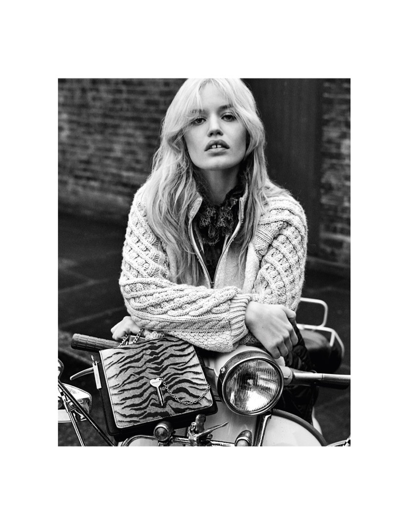 Photographed in black and white, Georgia May Jagger wears Twinset fall-winter 2018 campaign