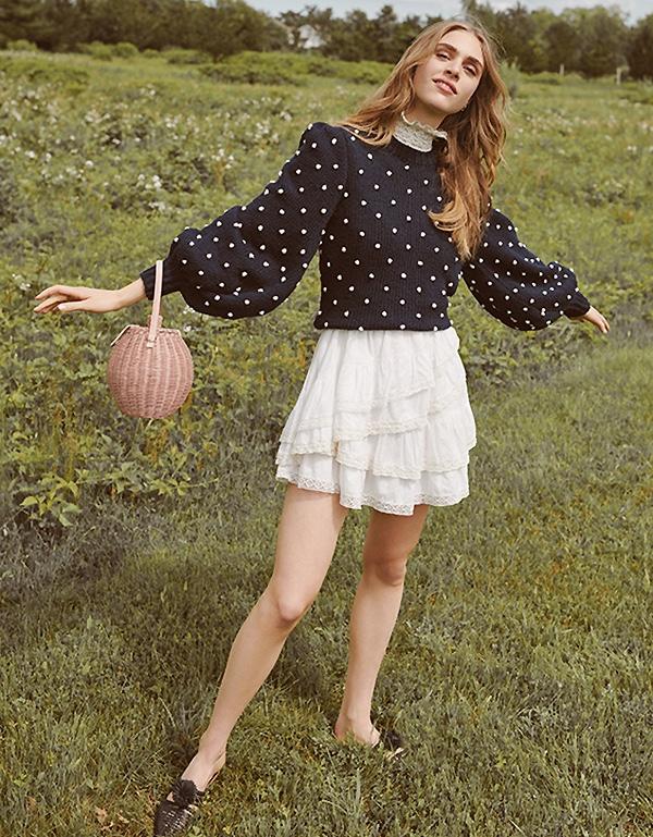 Ulla Johnson Adalene Sweater, Holly Dress, Tautou Basket and Marah Flat Mules