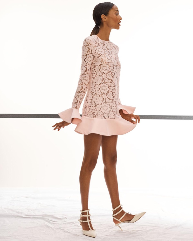 Valentino Jewel Neck Long Sleeve Heavy Lace Crepe Couture Dress with Ruffles