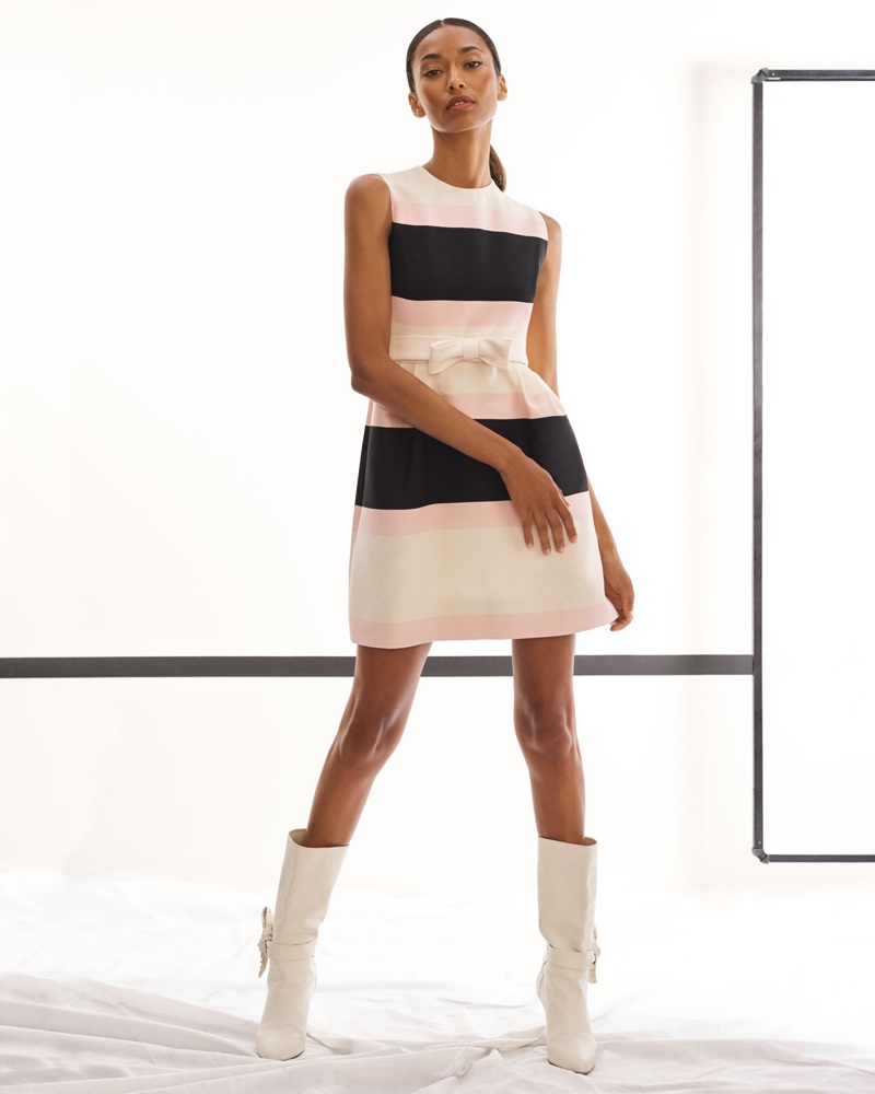 Valentino Sleeveless Belted Striped Fit and Flare Cocktail Dress