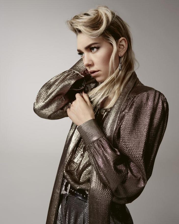 Vanessa Kirby wears metallic fabrics