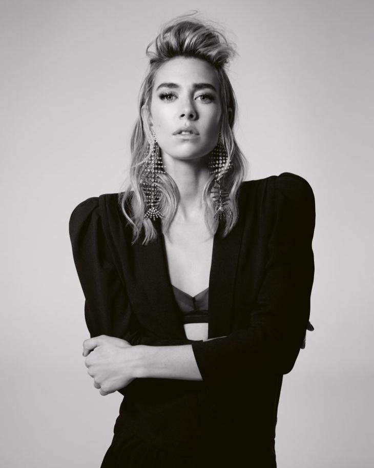 Actress Vanessa Kirby poses in black jacket