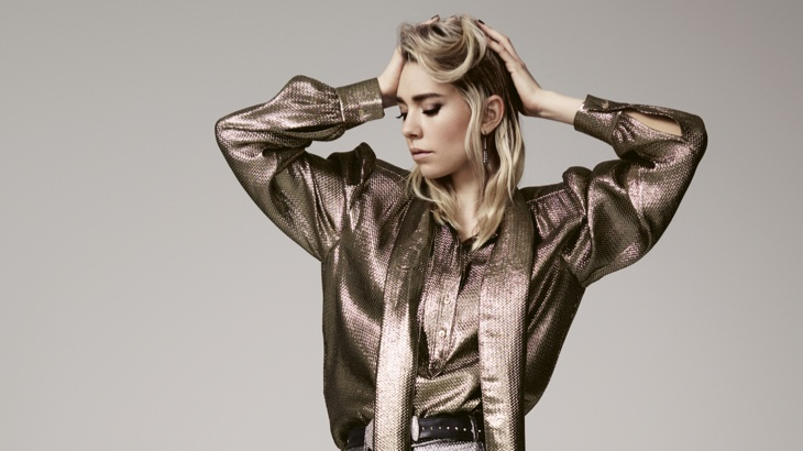 Striking a pose, Vanessa Kriby wears metallic look