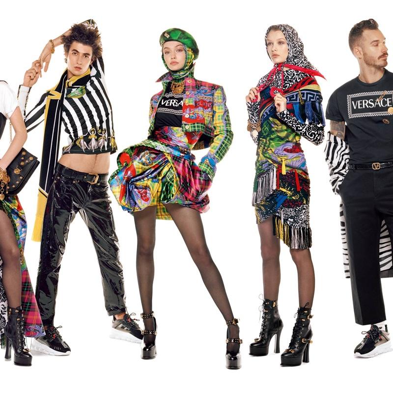 Oscar Kindelan, Gigi Hadid, Kris Grikaite and David Alexander Flinn front Versace fall-winter 2018 campaign