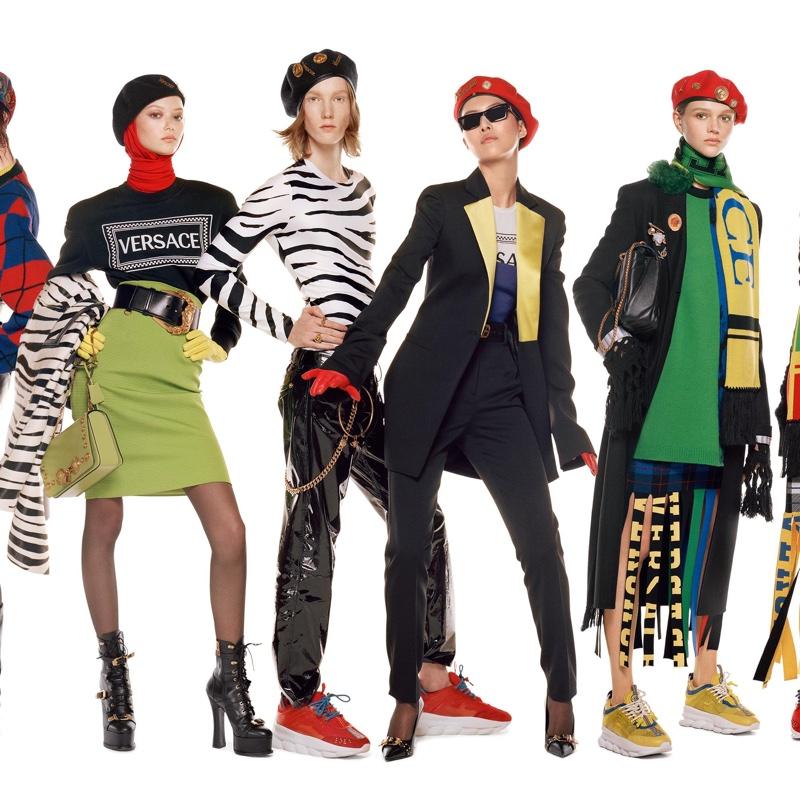 Sara Grace Wallerstedt, Matt Pitt, Sohyun Jung and Natalie Ogg appear in Versace fall-winter 2018 campaign