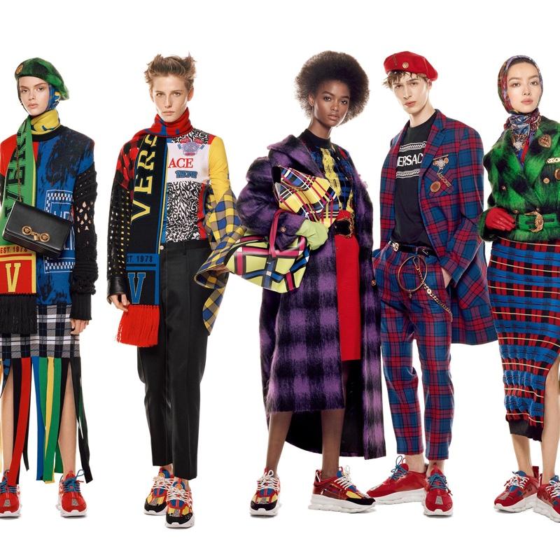 Eduarda Bretas, Emily Gafford, Blesnya Minher, Dylan Fender and Fei Fei Sun front Versace fall-winter 2018 campaign