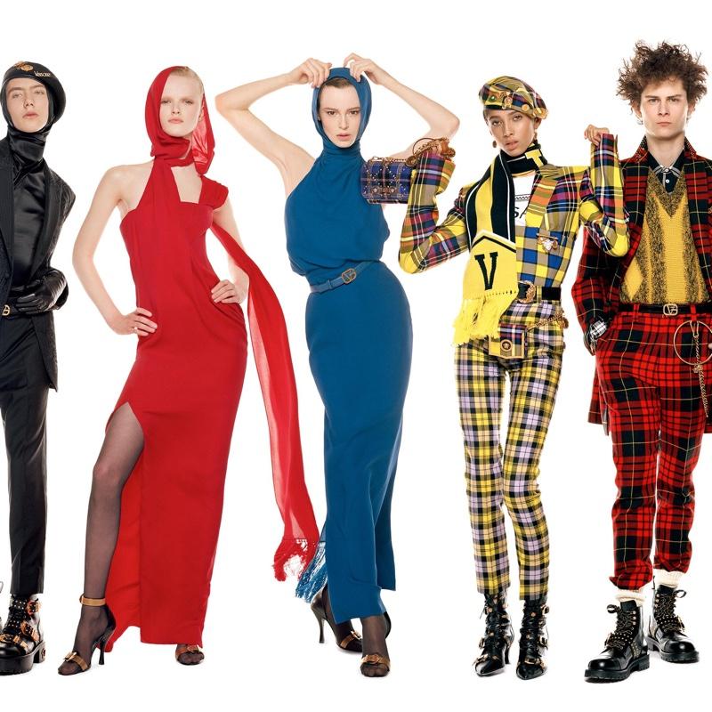 Paul Hameline, Hannah Motler, Gisele Fox, Yasmine Wijnaldum and Skylar Penn front Versace fall-winter 2018 campaign