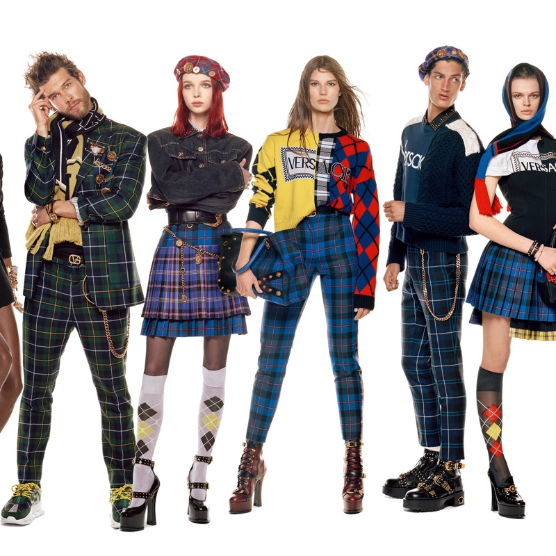 Josh Upshaw, Olivia Forte, Adela Stenberg, Aaron Shandel and Cara Taylor appear in Versace fall-winter 2018 campaign