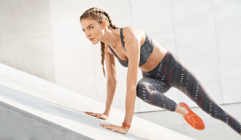 Martha Hunt poses in Victoria Sport Summer 2018 campaign