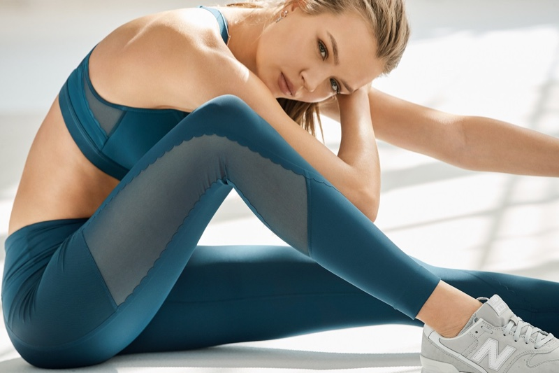Josephine Skriver wears a teal outfit in Victoria Sport Summer 2018 campaign
