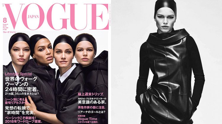 Amber, Joan, Anna & Faretta Stun in Black & White for Vogue Japan