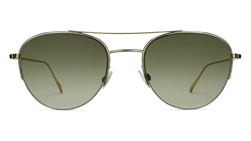 Warby Parker Barrow Sunglasses in Gold with Green Gradient Lenses $145