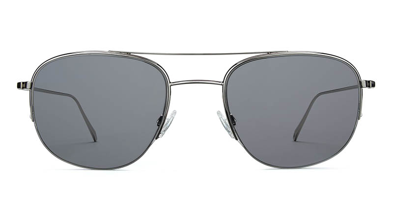 Warby Parker Bryant Sunglasses in Polished Silver with Classic Grey Lenses $145