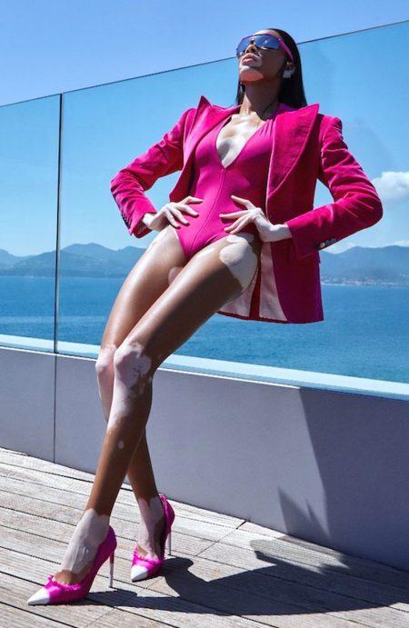 Winnie Harlow Embraces Rich Jewel Tones for L'Officiel Russia