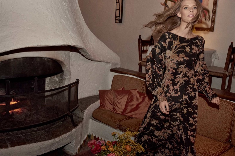Lexi Boling models Unbridled Basque dress in Zimmermann fall-winter 2018 campaign