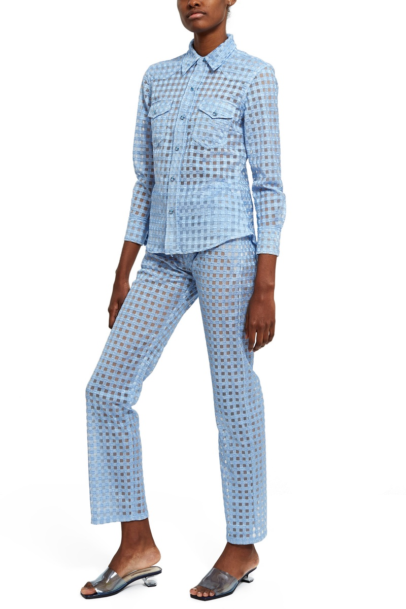 Adam Selman x Opening Ceremony Gingham Sheer Tulle Shirt $495 and Gingham Sheer Tulle Pant $595