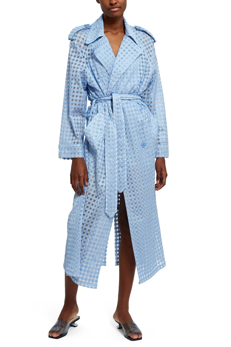 Adam Selman x Opening Ceremony Gingham Sheer Tulle Trench $975