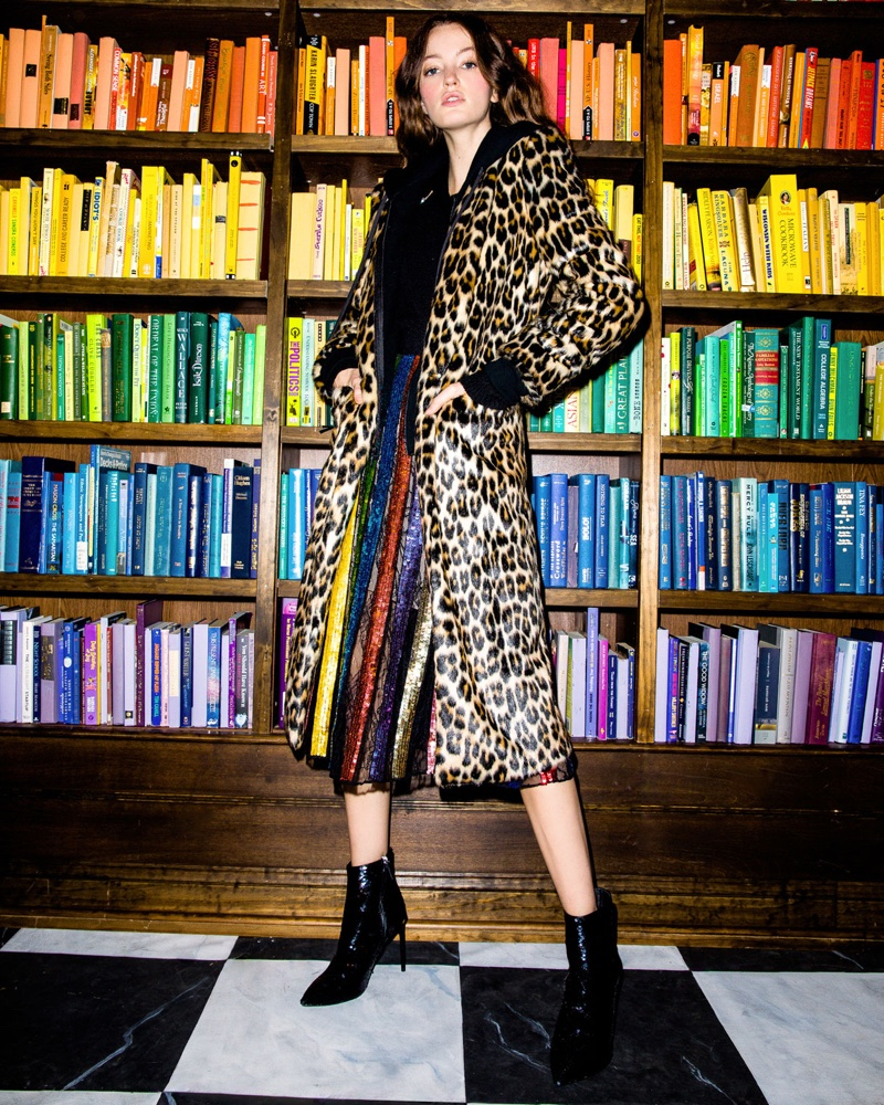 Alice + Olivia Kylie Hoodie Long Leopard Faux-Fur Coat and Tianna High-Waist Stripe Midi Skirt