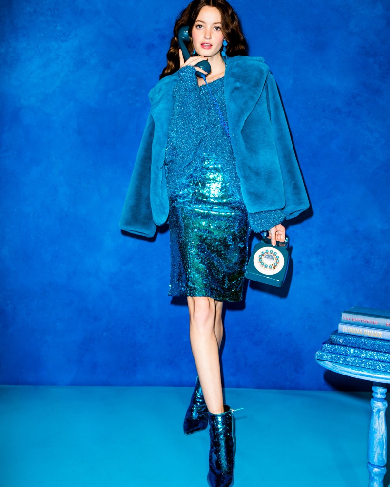Alice + Olivia Thora Faux-Fur Oversized Coat, Lisha Boat-Neck Blouson-Sleeve Pullover and Ramos Sequin Pencil Skirt