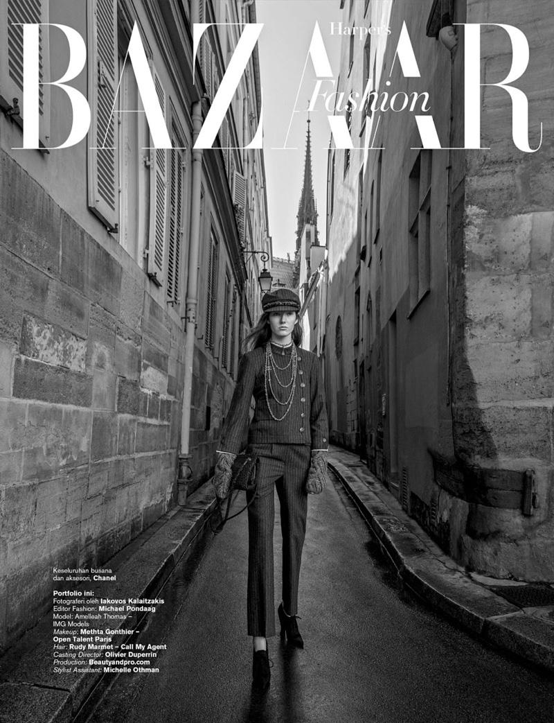 Amelleah Thomas Wears Chanel Pre-Fall in Harper's Bazaar Indonesia