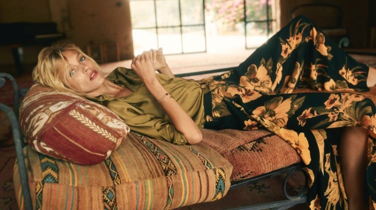 Anja Rubik wears bold prints in Anthropologie September 2018 catalog
