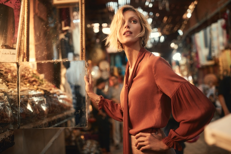 Anja Rubik wears rust blouse in Anthropologie September 2018 catalog