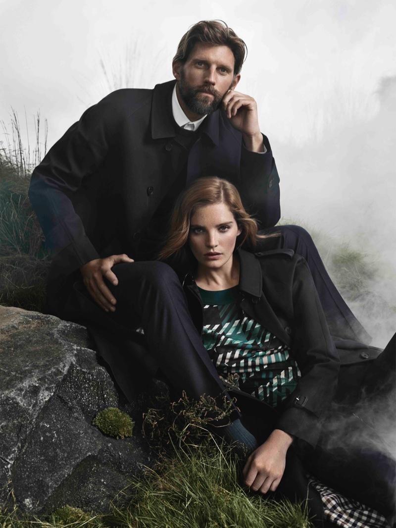 RJ Rogenski and Alexina Graham front Aquascutum fall-winter 2018 campaign