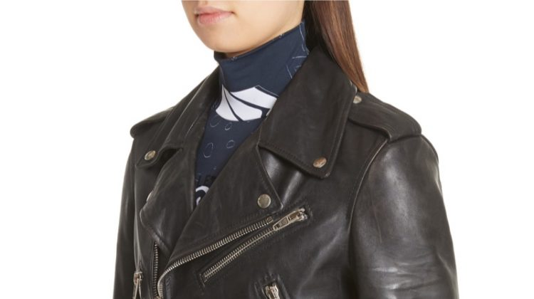 Balenciaga Logo Sleeve Leather Moto Jacket $4,600