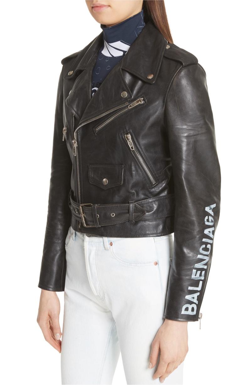 Balenciaga Logo Sleeve Leather Moto Jacket $4,600