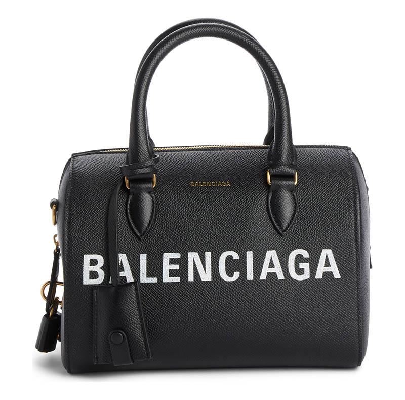 Balenciaga Ville Logo Leather Bowling Satchel $2,100
