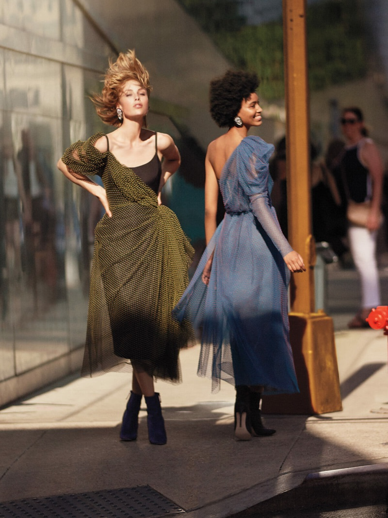 Edie Campbell and Manuela Sanchez pose in New York City for Carolina Herrera fall-winter 2018 campaign