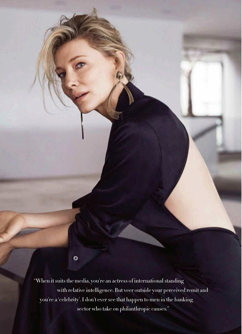Showing her back, Cate Blanchett wears Christopher Esber dress with Giorgio Armani earrings